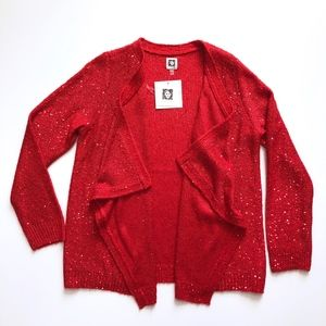NWT Anne Klein Red Sequin Cardigan Sweater L